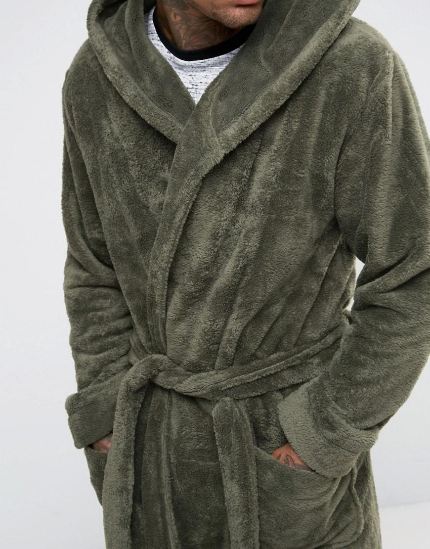 Lyst - Asos Hooded Fleece Dressing Gown in Green for Men