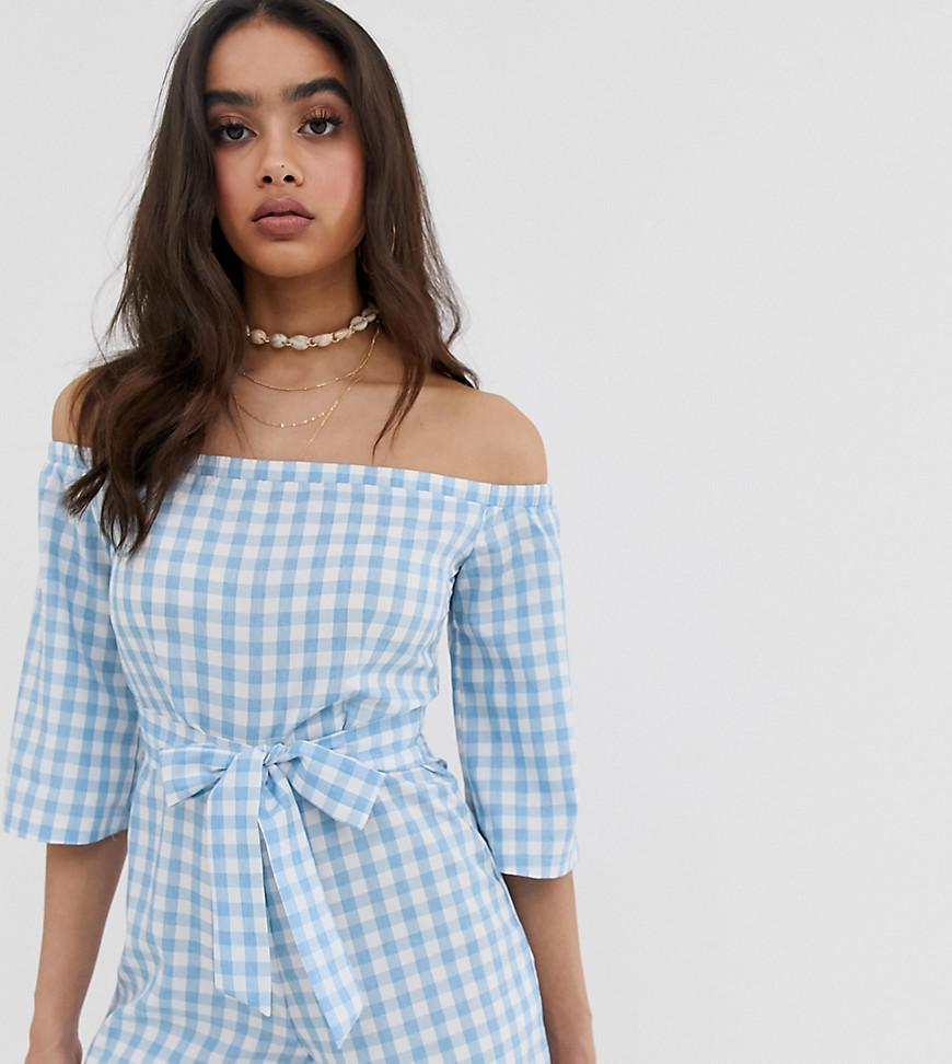 6bbb959f2a Boohoo Bardot Romper With Tie Waist In Blue Gingham in Blue - Lyst