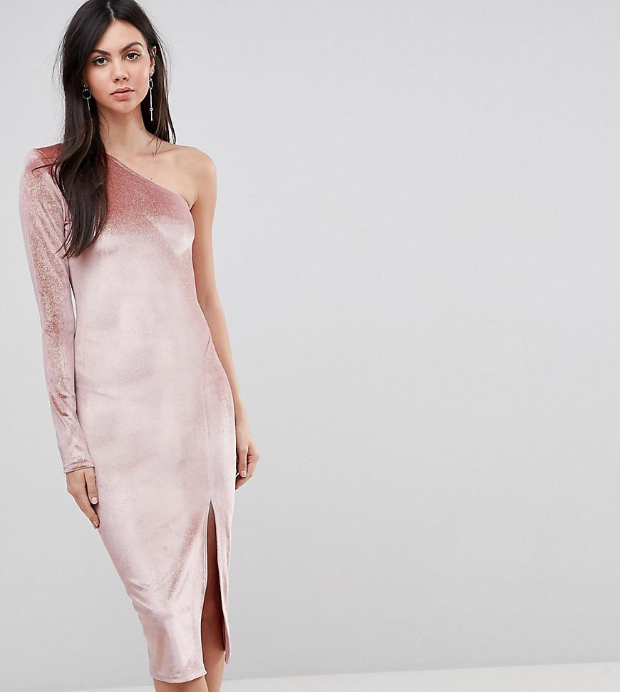 Flounce london Glitter Velvet One Shoulder Midi Dress