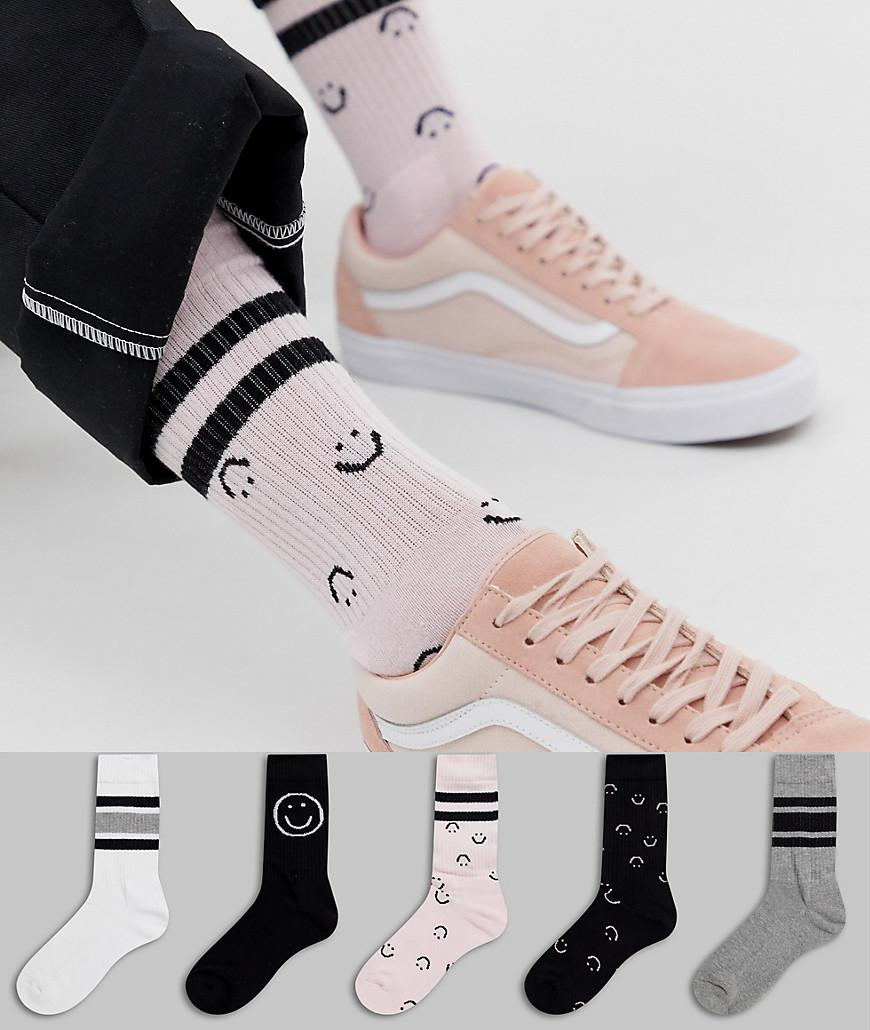 0b09e7801 ASOS Sports Socks With Smile Design 5 Pack in Pink for Men - Lyst