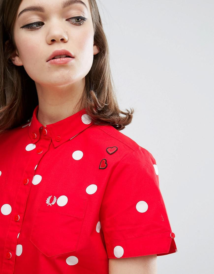 54a4762e4 Fred Perry Amy Winehouse Foundation Polka Dot Bowling Shirt in Red ...