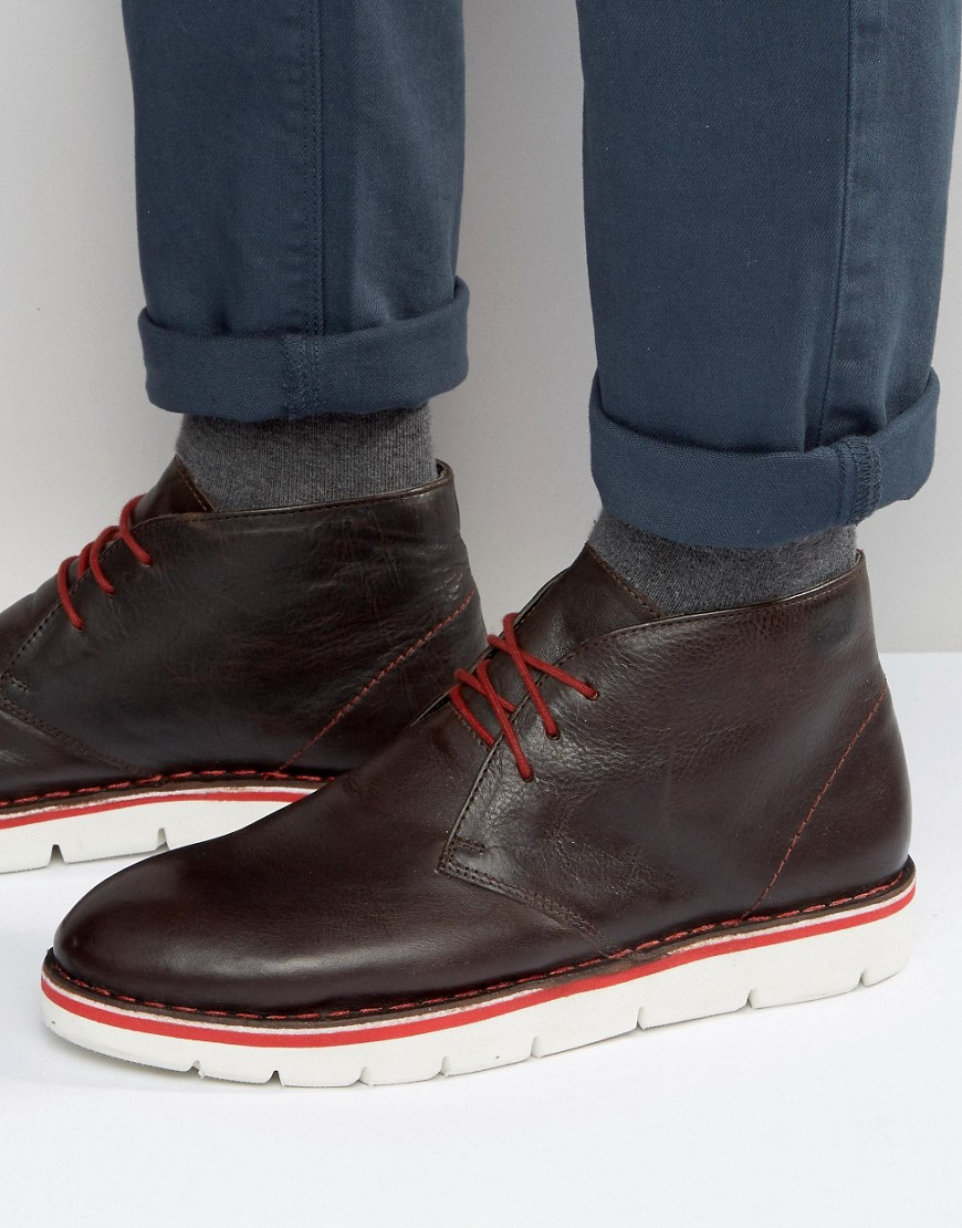 frank wright desert boots in brown leather in brown for