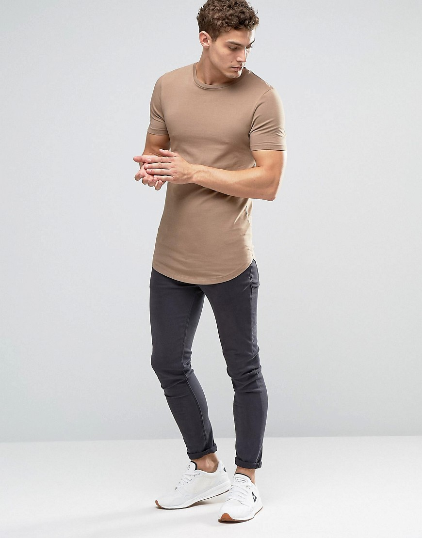 Asos 3 Pack Longline Muscle T Shirt With Curved Hem In
