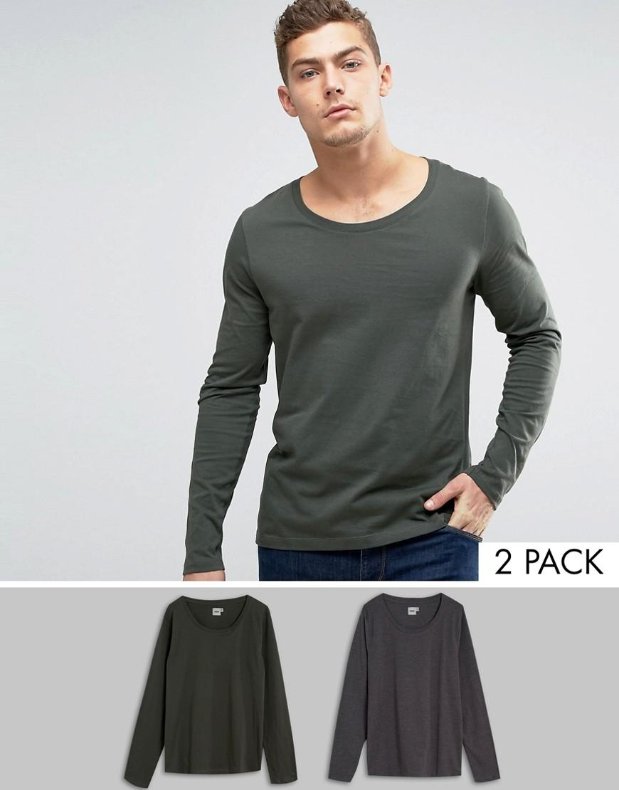 Lyst asos long sleeve t shirt with scoop neck 2 pack for Scoop neck long sleeve shirt