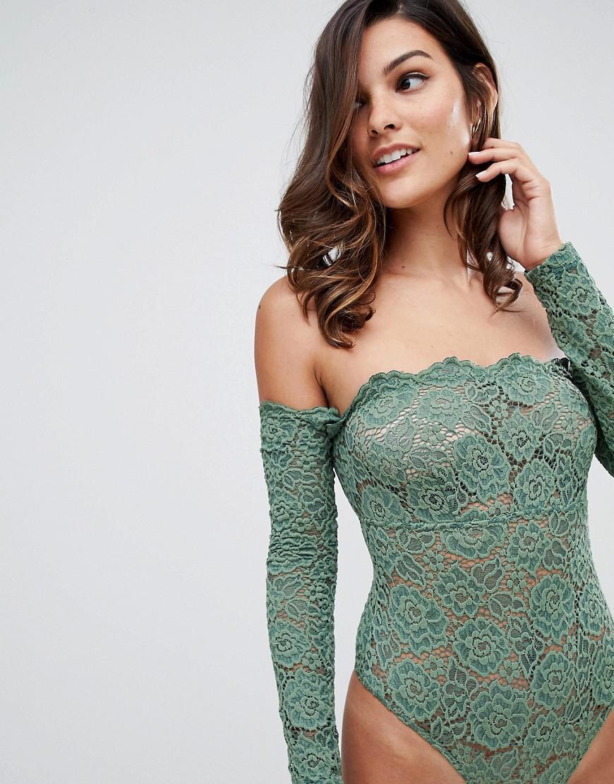 172d7283d1 ASOS. Women s Green Asos Lex Premium Lace Long Sleeve Off Shoulder Bodysuit
