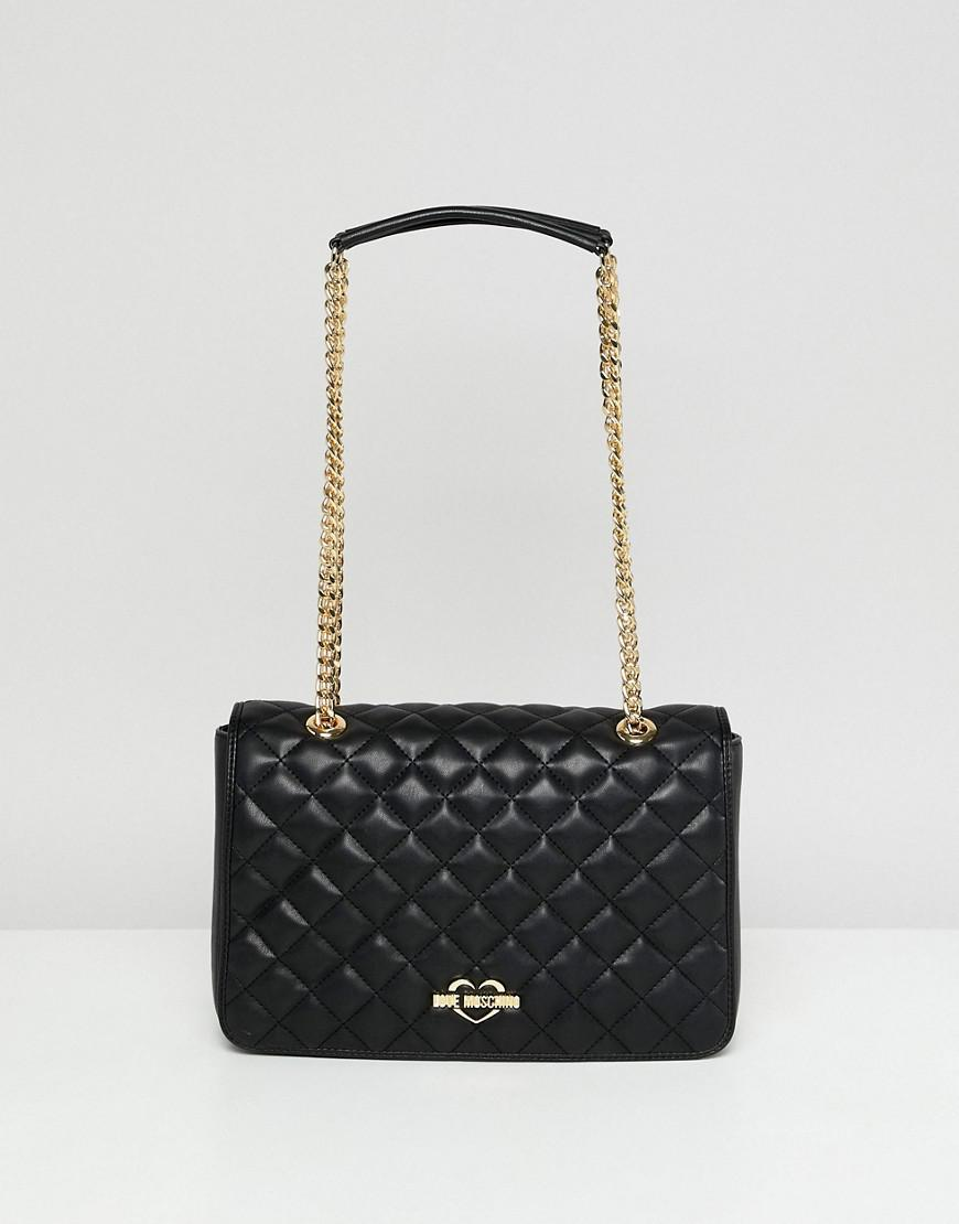 db709c96bd9e5 Lyst - Love Moschino Quilted Shoulder Bag With Gold Strap in Black