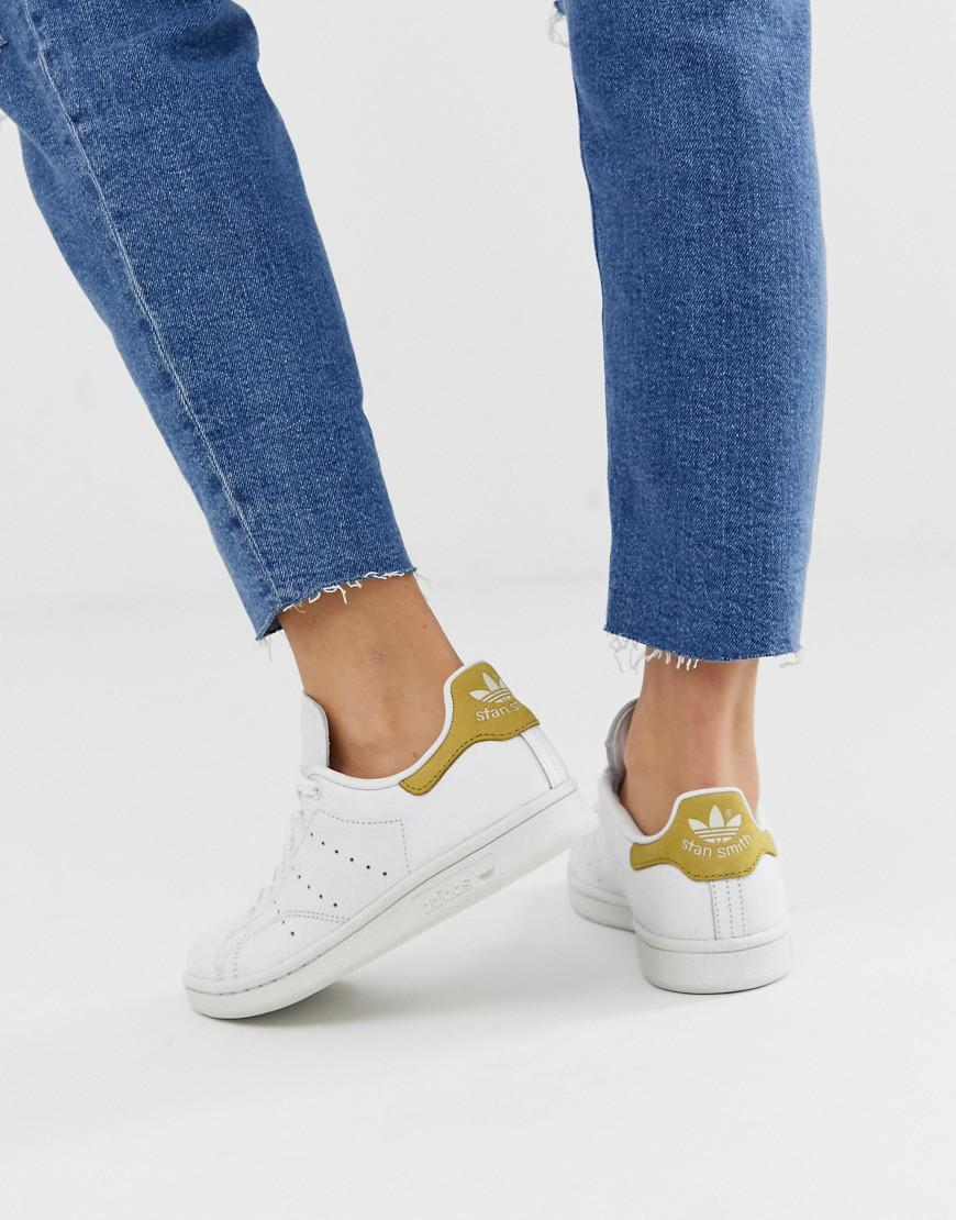 Lyst - adidas Originals White And Yellow Stan Smith Sneakers in White 9260f9f2c