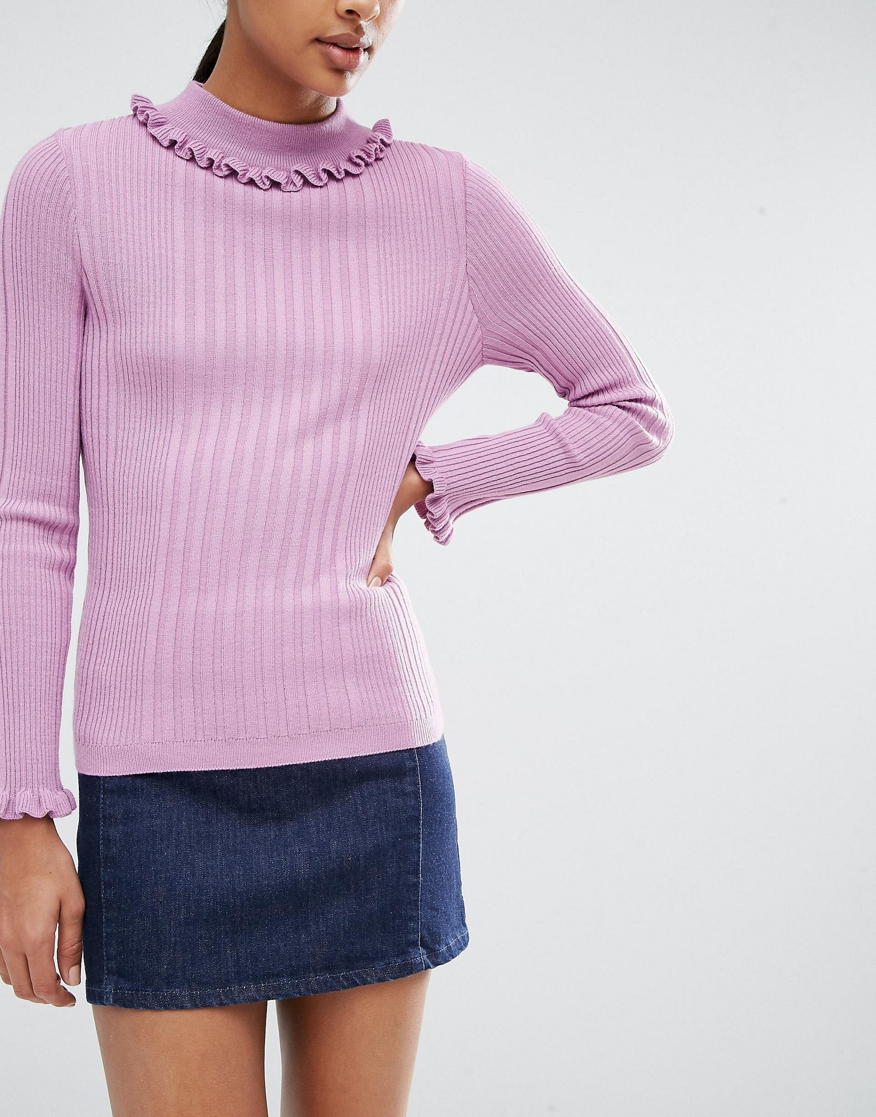 Image result for ASOS Jumper In Rib With Ruffle Neck