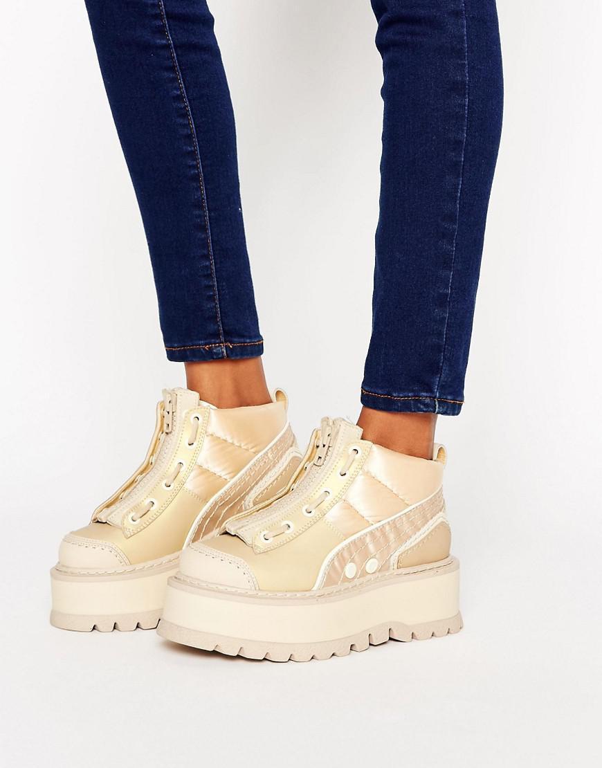 0c7d5317e24 Lyst - PUMA X Fenty Strap Sneaker Boot in Natural