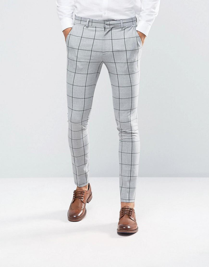 Asos Super Skinny Suit Pants In Green Window Pane Check In