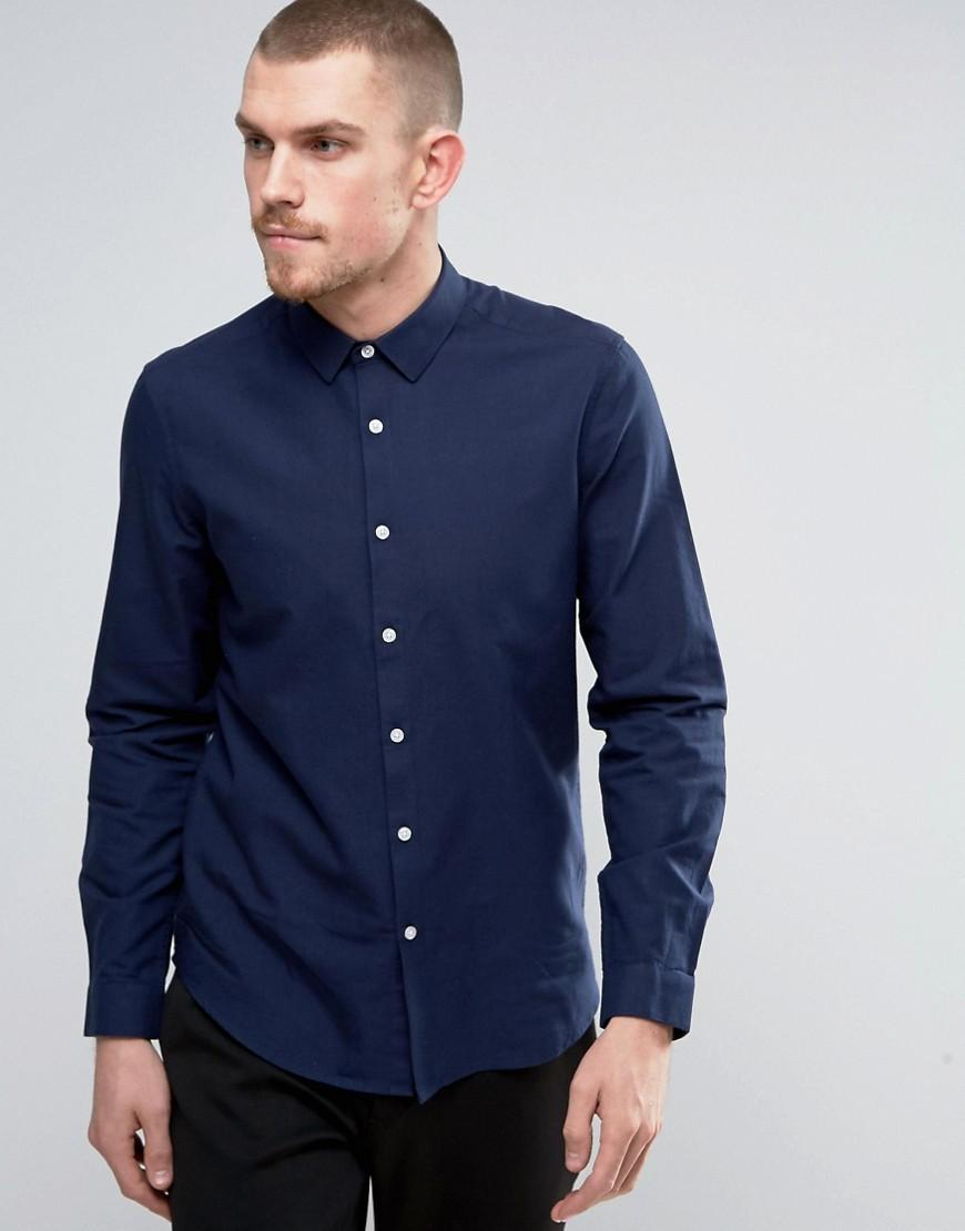 Asos oxford shirt in navy regular fit in blue for men lyst for Men s regular fit shirts