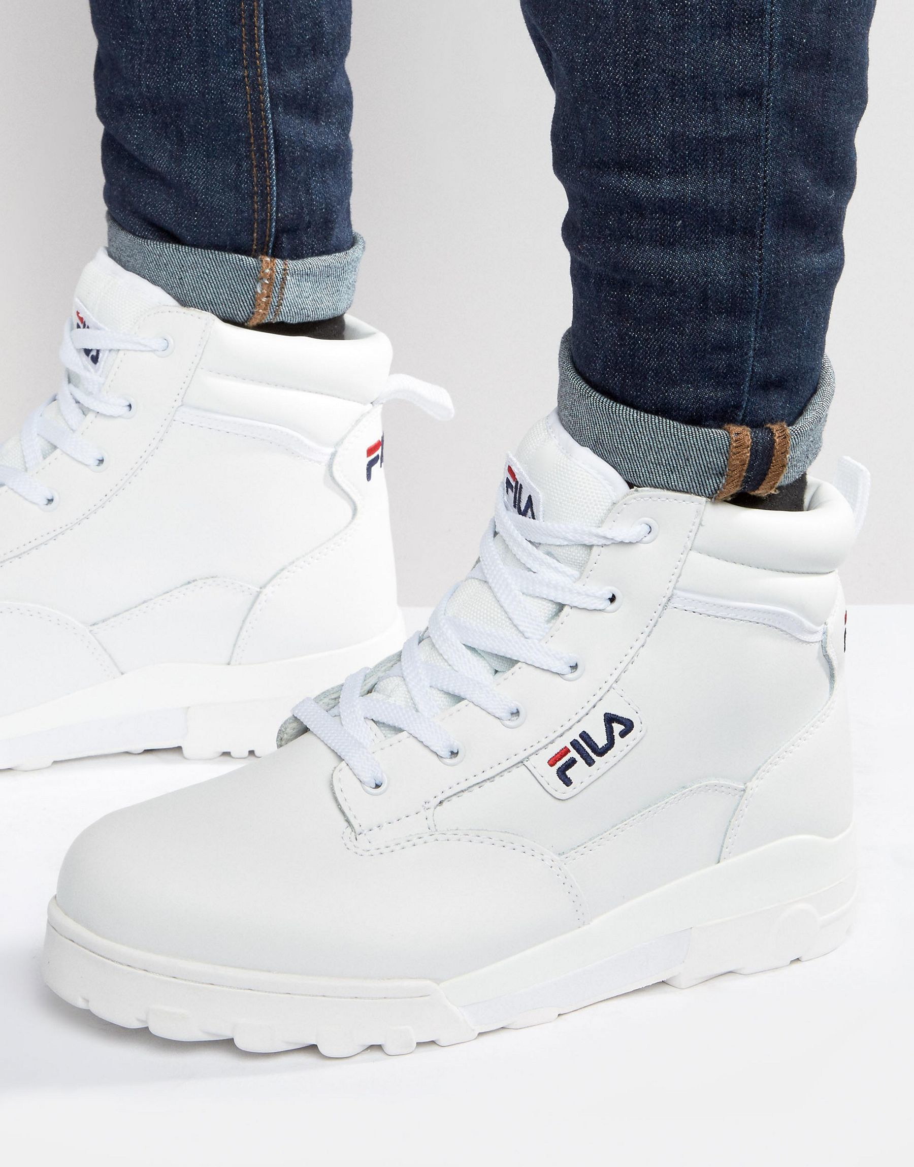 bd9b1ed79b4 Lyst - Fila Grunge Mid Laceup Boots in White for Men