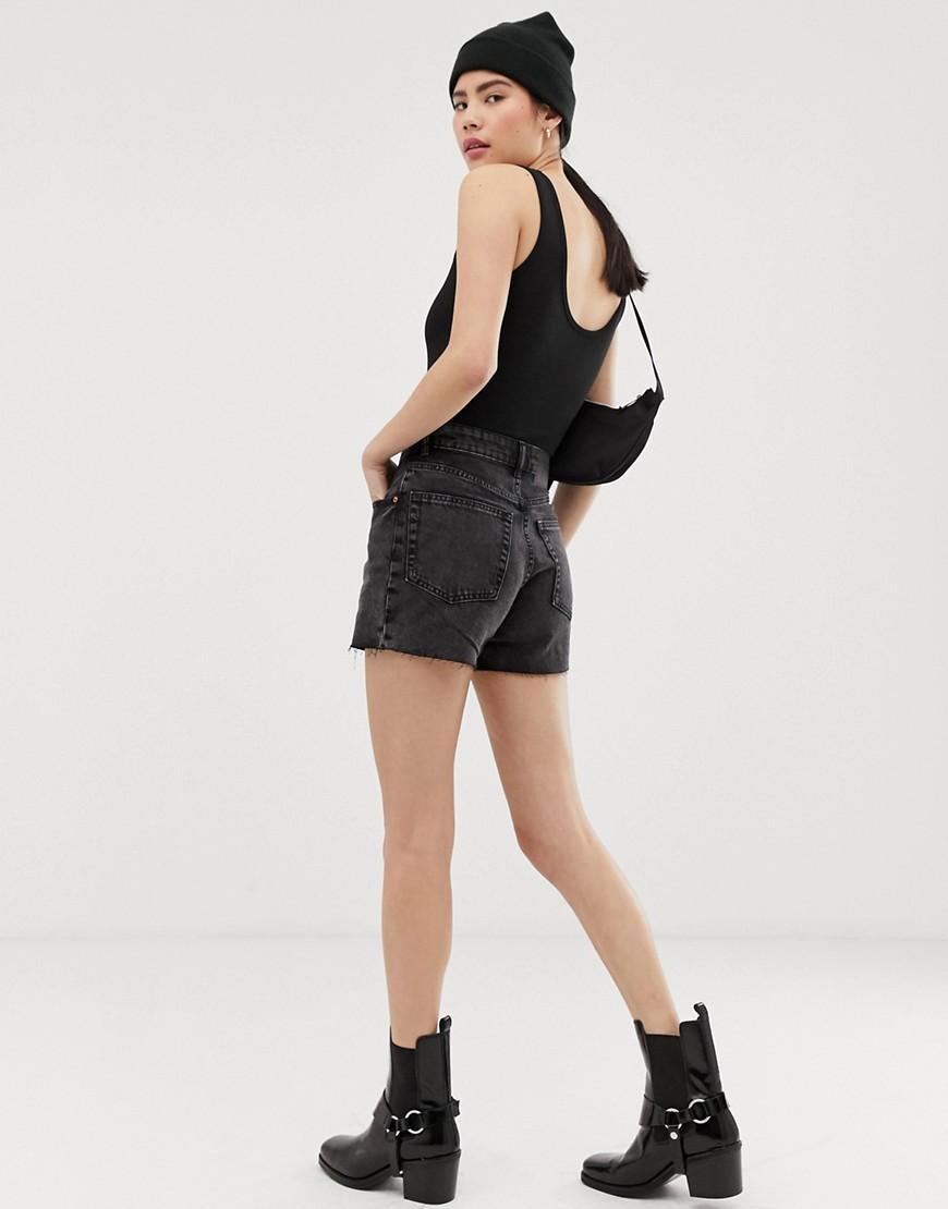 38e8bf73b8 Cheap Monday Donna Mom Denim Shorts in Black - Lyst