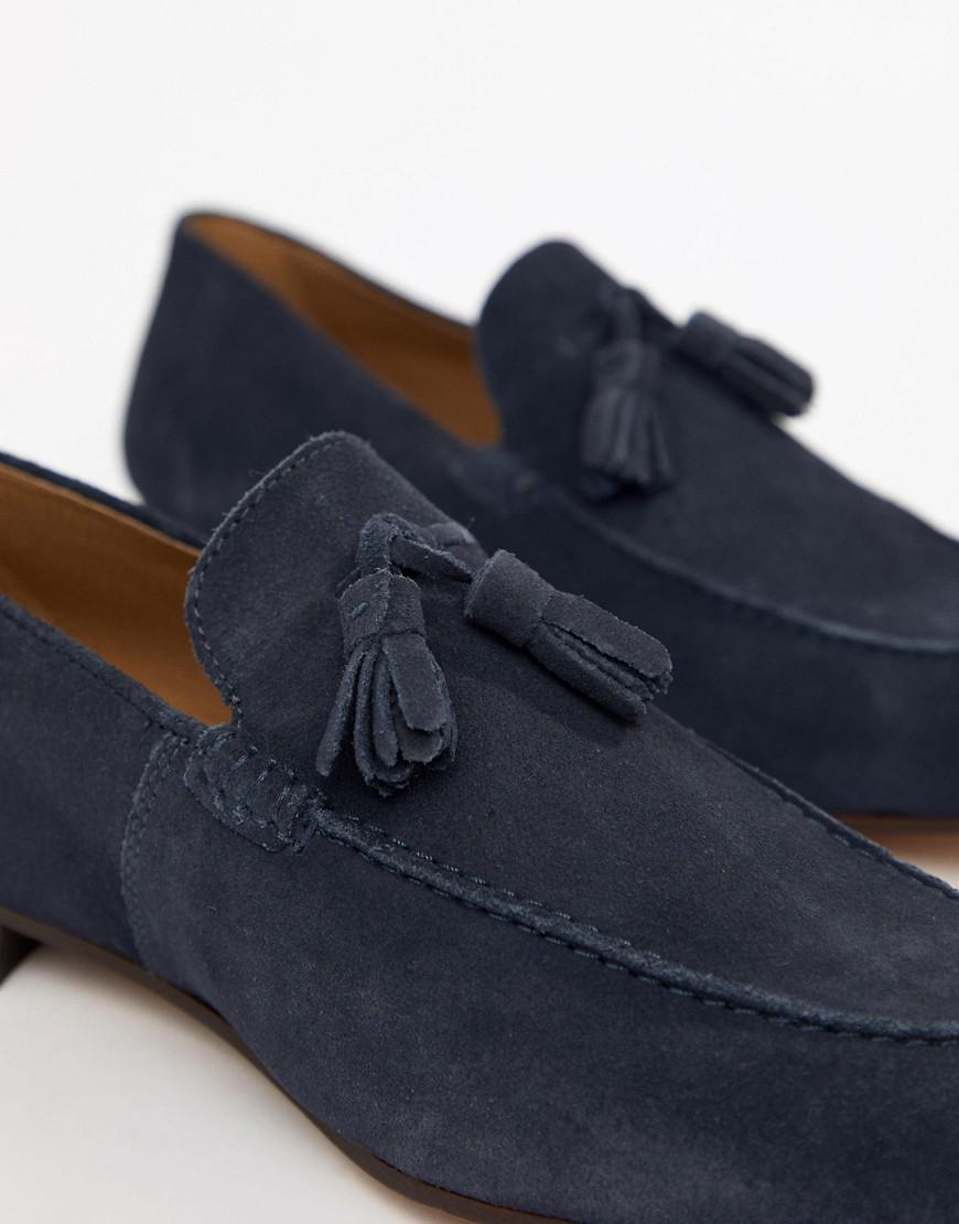 7b7b8163c7a H by Hudson Wide Fit Bolton Tassel Loafers In Navy Suede in Blue for Men -  Lyst