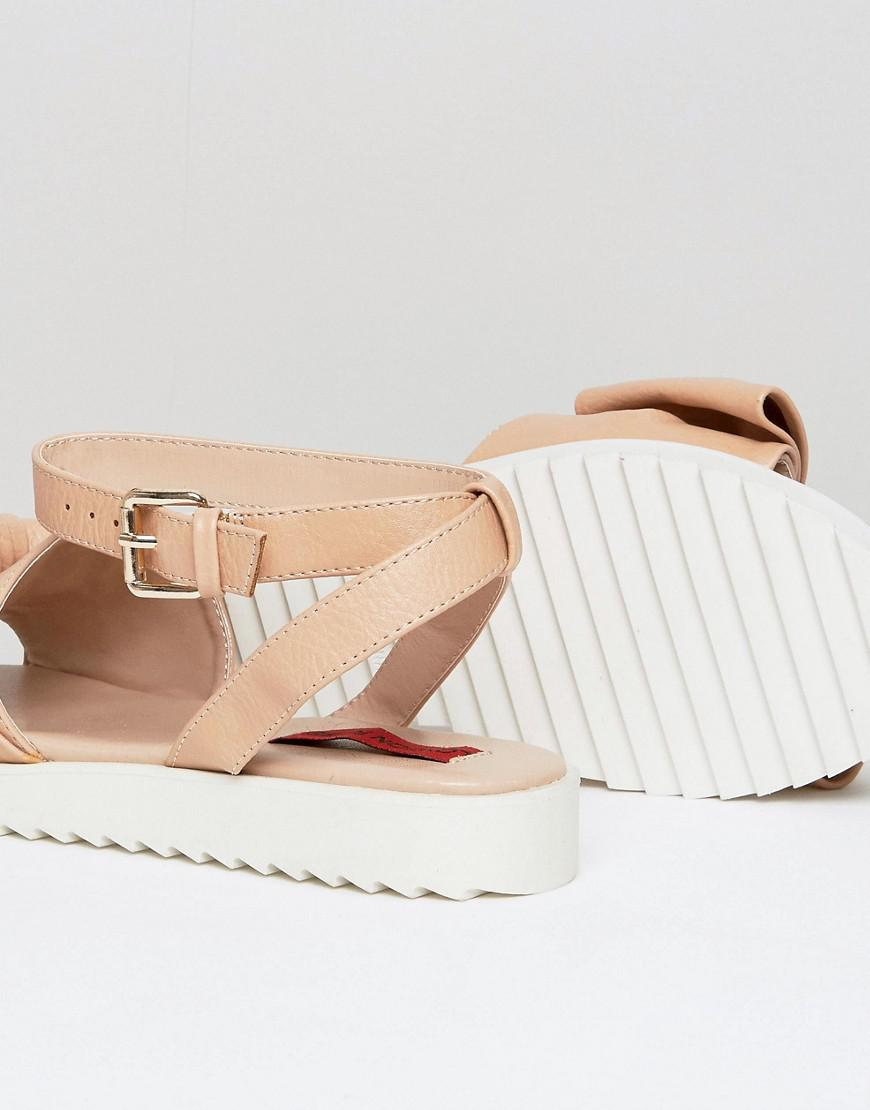 88a40ef3c0460d Lyst - London Rebel Oversized Bow Flat Sandal in Natural