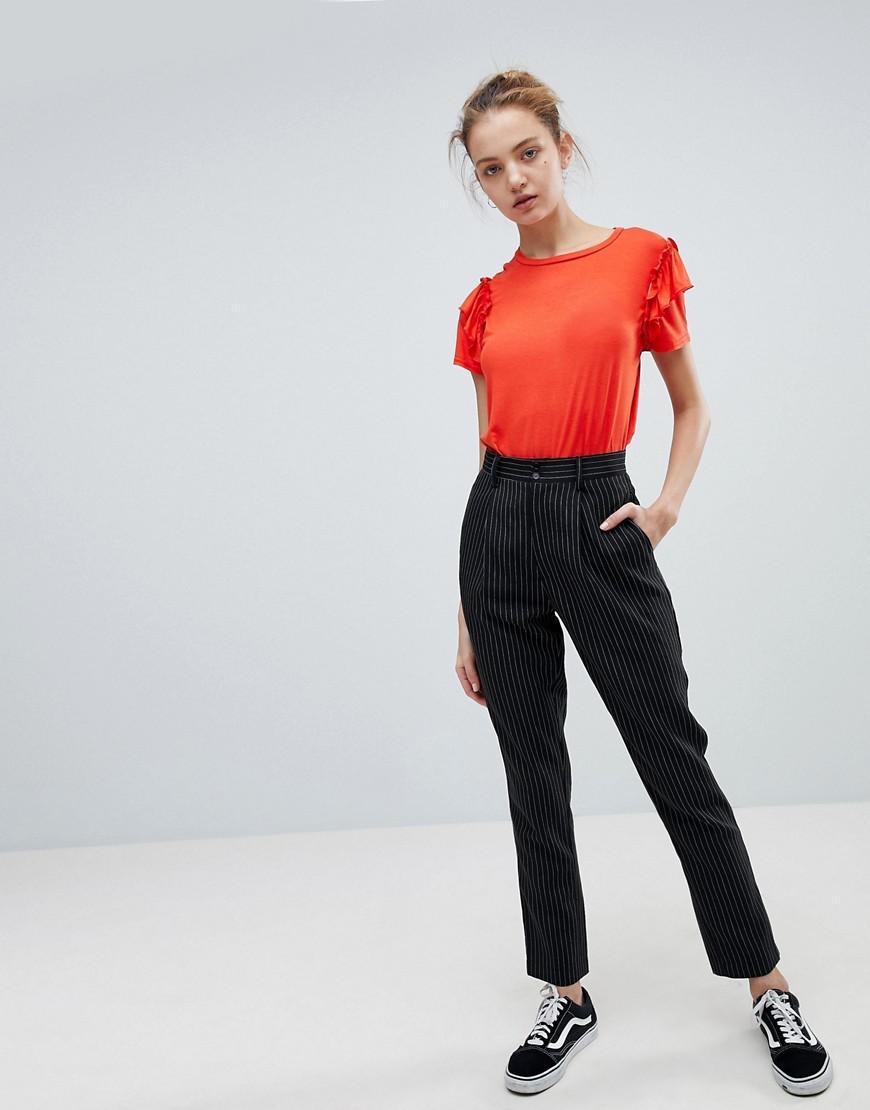 Flare Trousers In Fine Stripe - Black Daisy Street iOMWMA