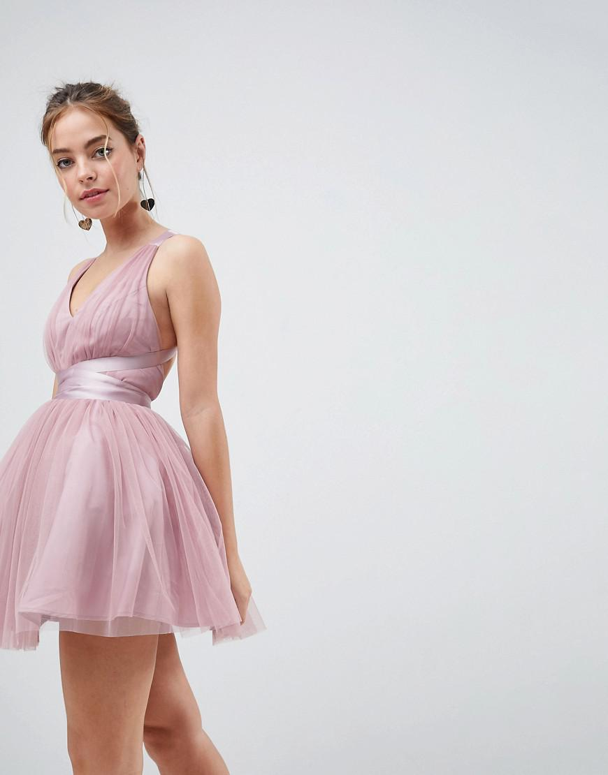 4e9225c5e675e ASOS Premium Tulle Mini Prom Dress With Ribbon Ties in Pink - Lyst