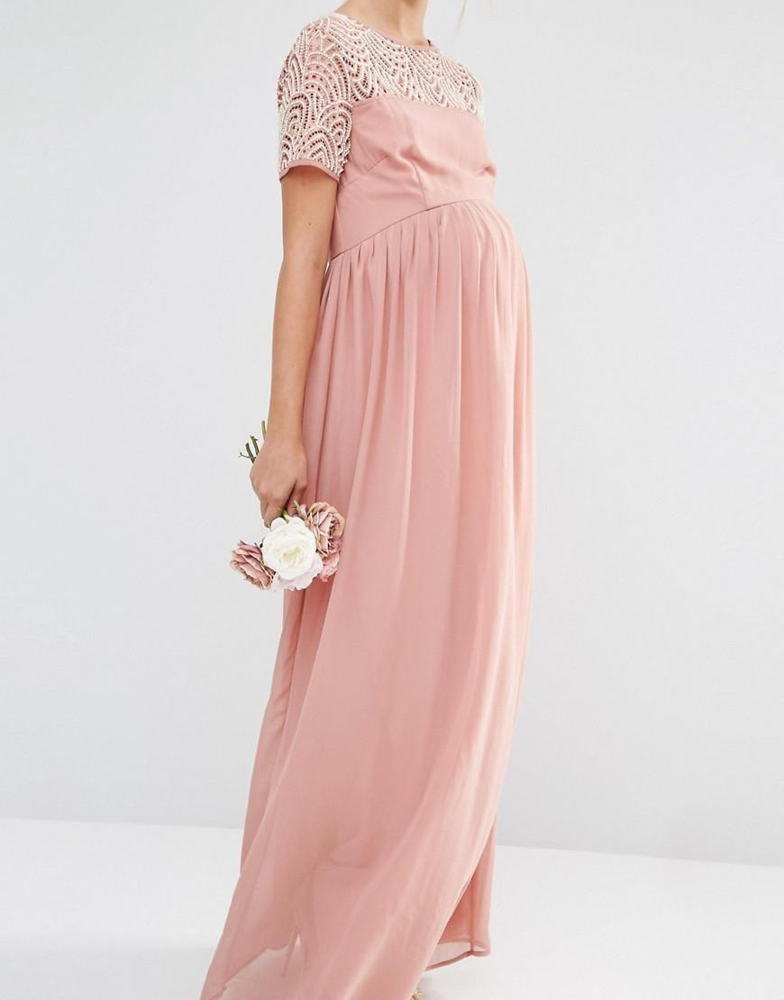 0a5dda3bea922 Maya Maternity Pleated Maxi Dress With Pearl Embellishment in Pink ...