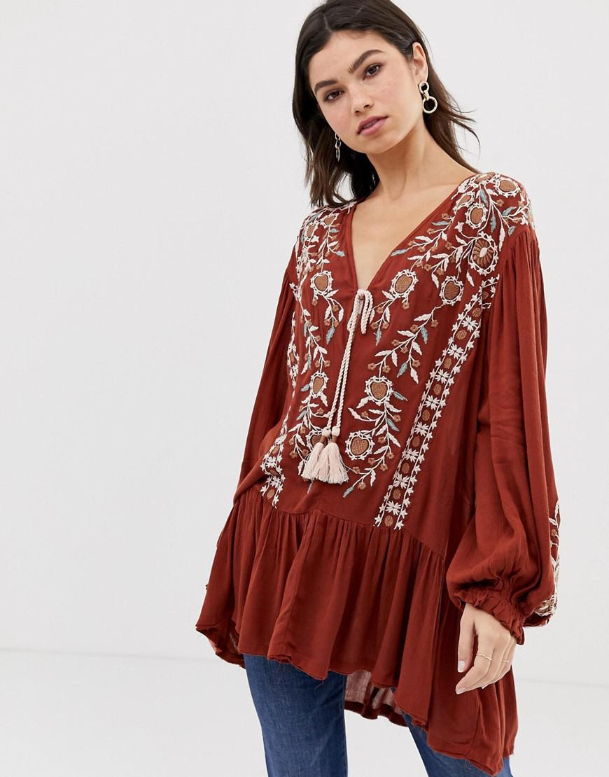 Free People Wild Dreams Embroidered Tunic Top in Red - Save 37% - Lyst 55802abce