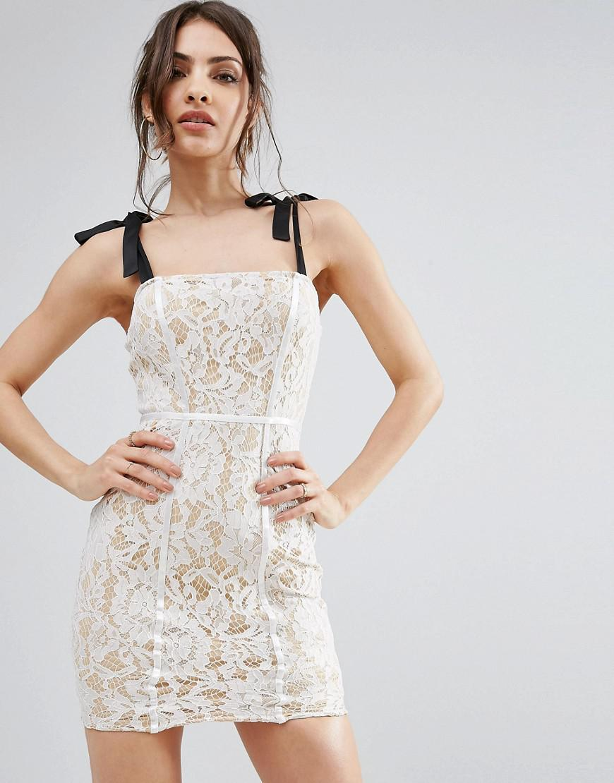 White Broderie Anglaise Bardot Bodycon Dress Pretty Little Thing 6Ng9C