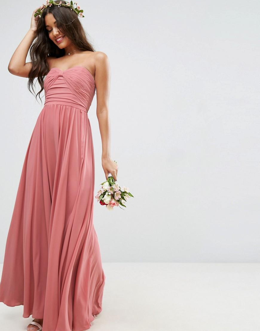 363e3ce7b39 ASOS Bridesmaid Bow Front Bandeau Maxi Dress in Natural - Lyst