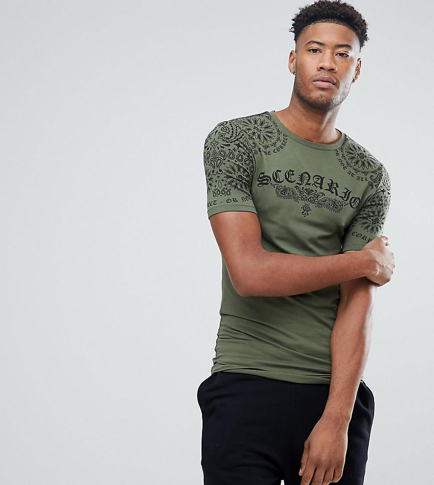 ASOS. Men's Green Tall Longline Muscle T-shirt With Bandana Yoke Print