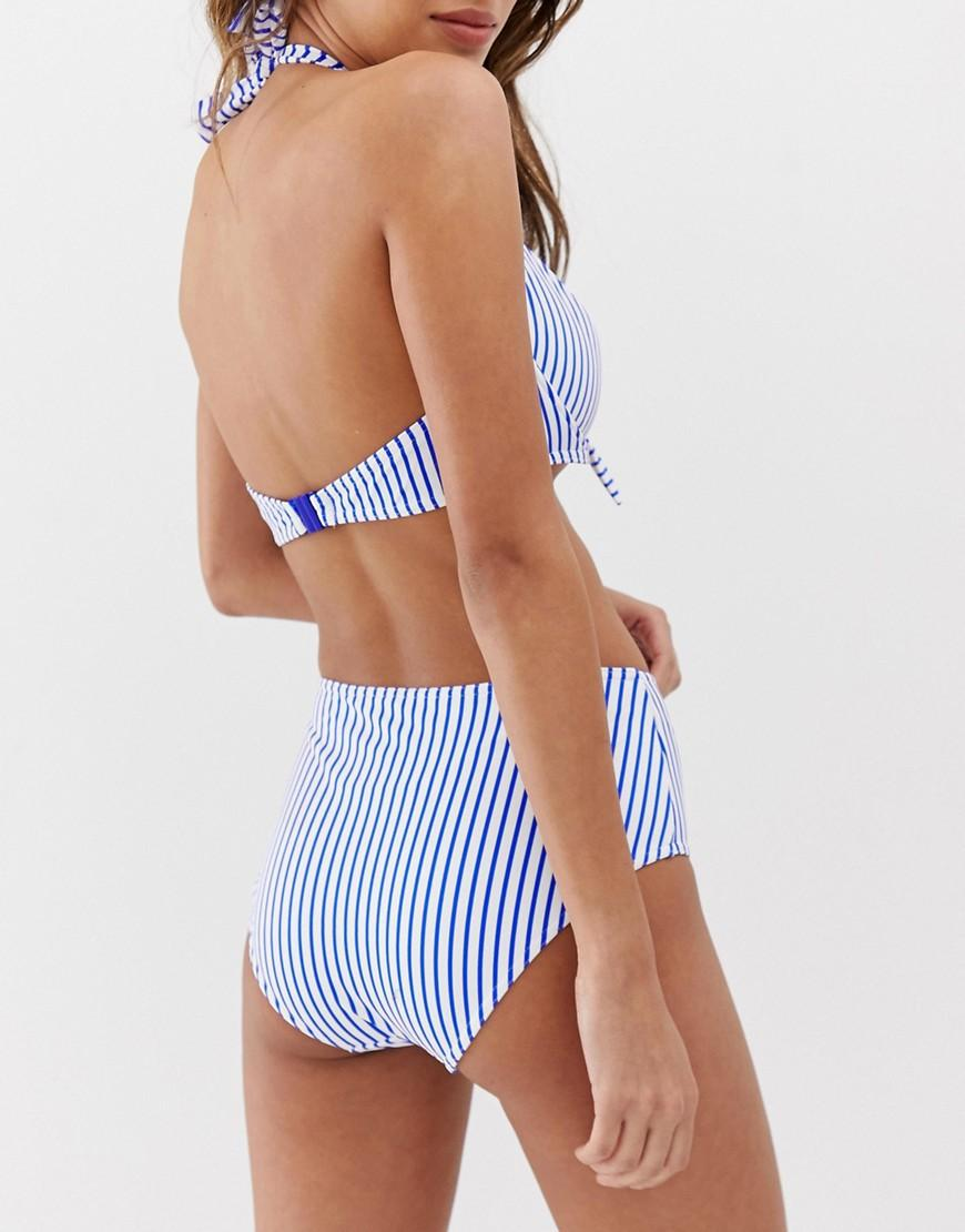 bdfea380a45ac Freya Totally Stripe High Waist Bikini Bottom In Blue And White in ...