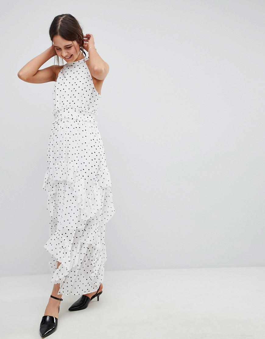 cdca6581533 Lyst - ASOS Premium Spot High Neck Ruffle Maxi Dress in White