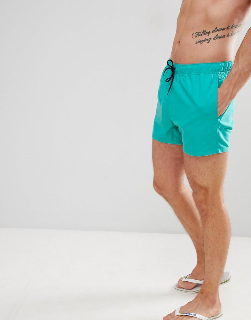 028f47a71d ASOS. Men's Green Swim Shorts In Turquoise With Navy Drawcords Short Length