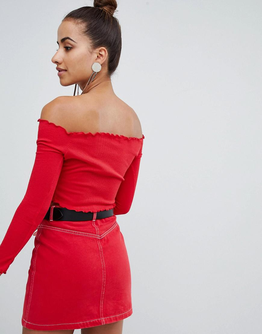 1ebc61d4650 PrettyLittleThing Basic Frill Edge Bardot Crop Top in Red - Lyst