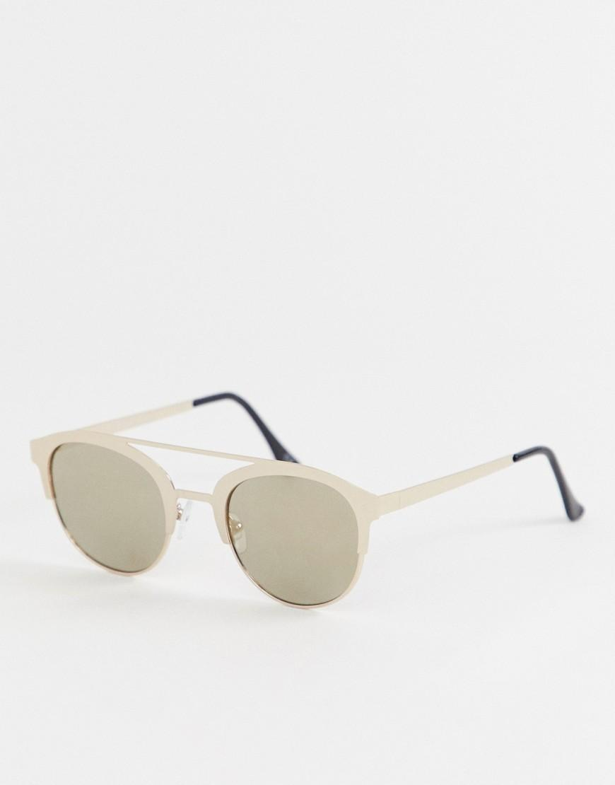 004f66e0c8 ASOS Round Sunglasses In Gold With Gold Flash Lens & Brow Bar in ...