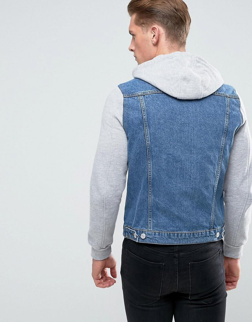 47c1b69fa07 New Look Bright Blue Jersey Sleeve Denim Jacket in Blue for Men - Lyst