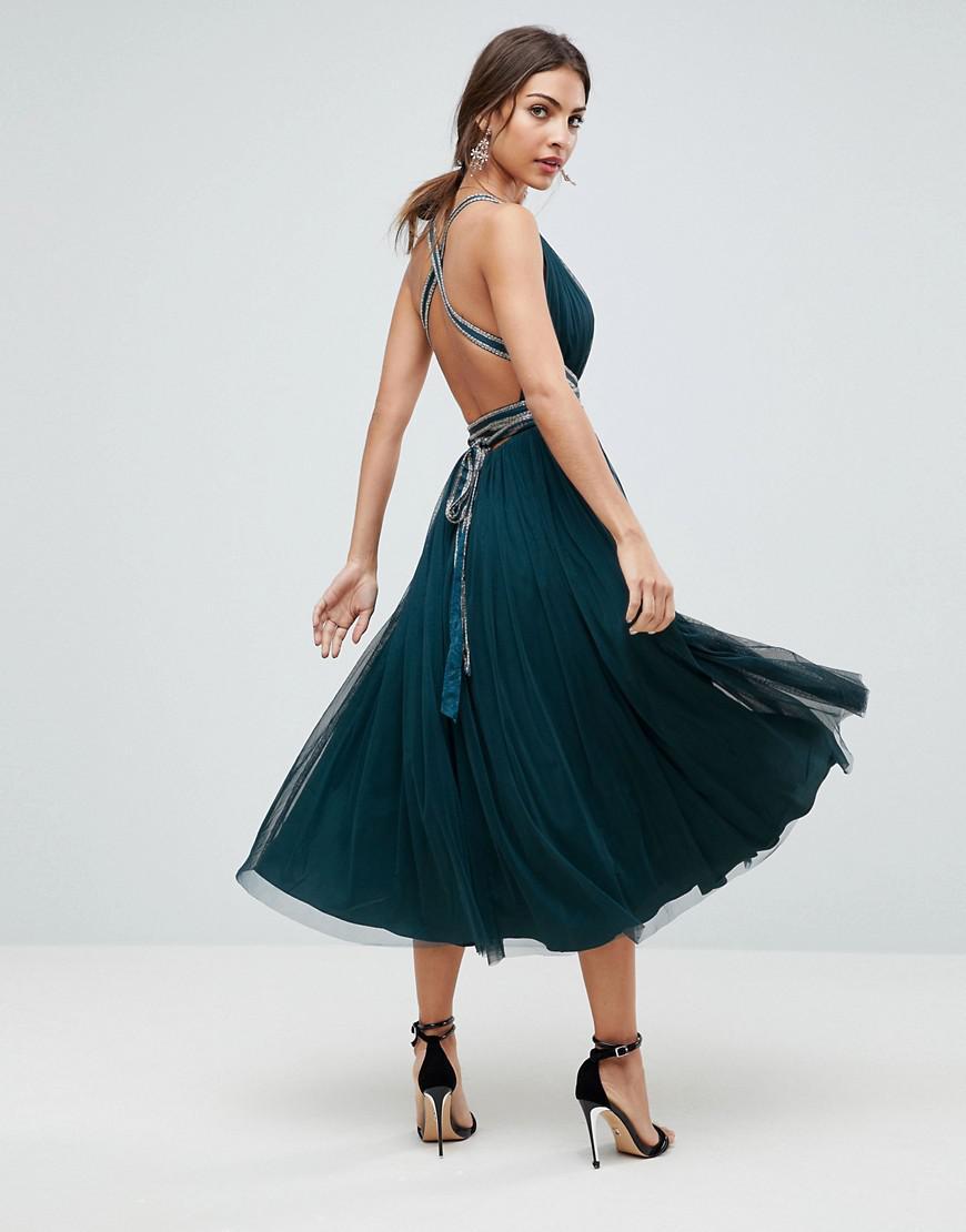 7d09f5b4e78 ASOS Asos Premium Tulle Midi Prom Dress With Embellished Ribbon Ties ...