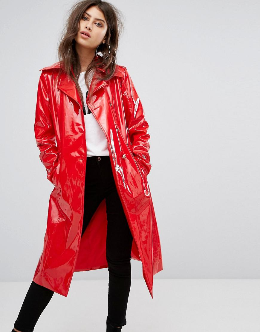 Prettylittlething Vinyl Trench Coat In Red Lyst