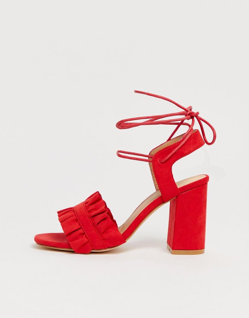 7fe8216d31731 Truffle Collection Ruffle Tie Leg Heeled Sandals in Red - Lyst