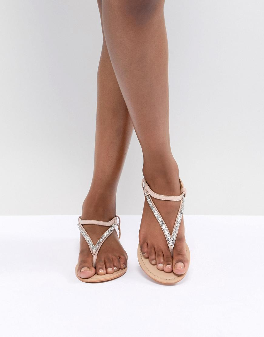 ff280dd2086b Lyst - ASOS Fixing Leather Embellished Flat Sandals in Natural