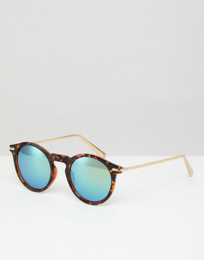 Chunky Round Sunglasses In Milky Tort and Flash Lens - Tortoise Asos h7A3iyCPm