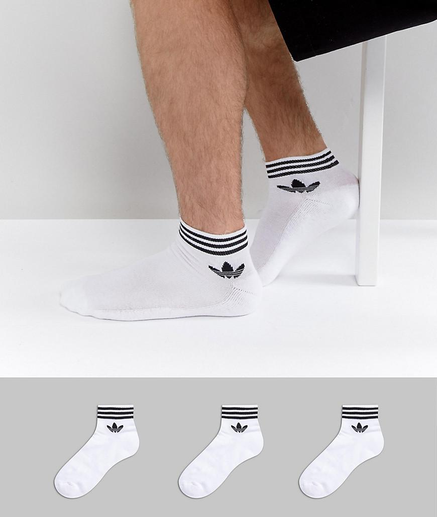 5eefa6a2a58 Lyst - adidas Originals 3 Pack Ankle Socks In White Az6288 in White ...