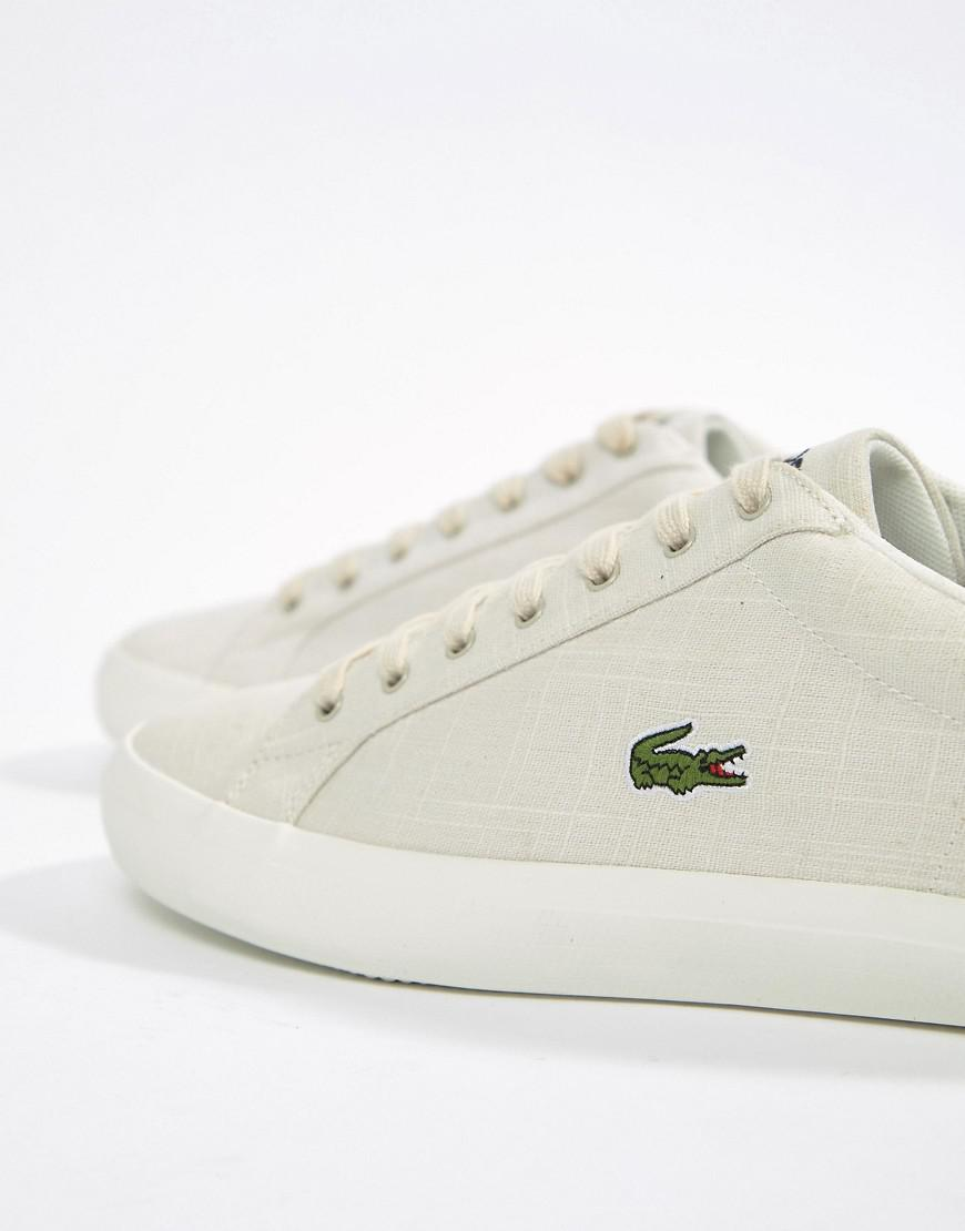 a02df9545 Lacoste Lerond Canvas Trainers In Beige in Natural for Men - Lyst
