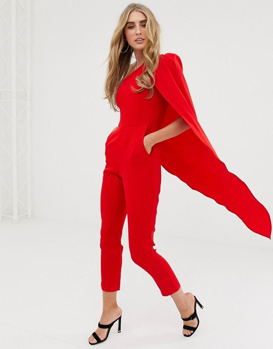 3d3f6cd457b Lavish Alice One Shoulder Cape Tailored Jumpsuit In Red in Red - Lyst