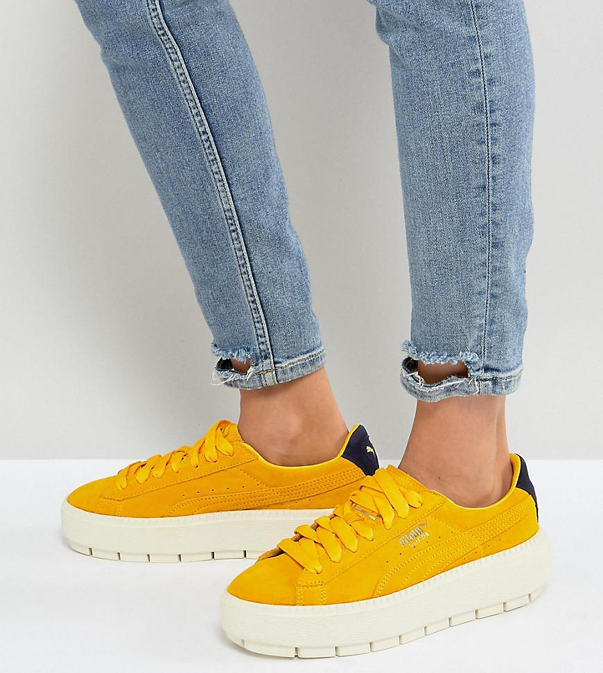 8658c16a985e PUMA Platform Trace Trainers In Yellow in Yellow - Lyst