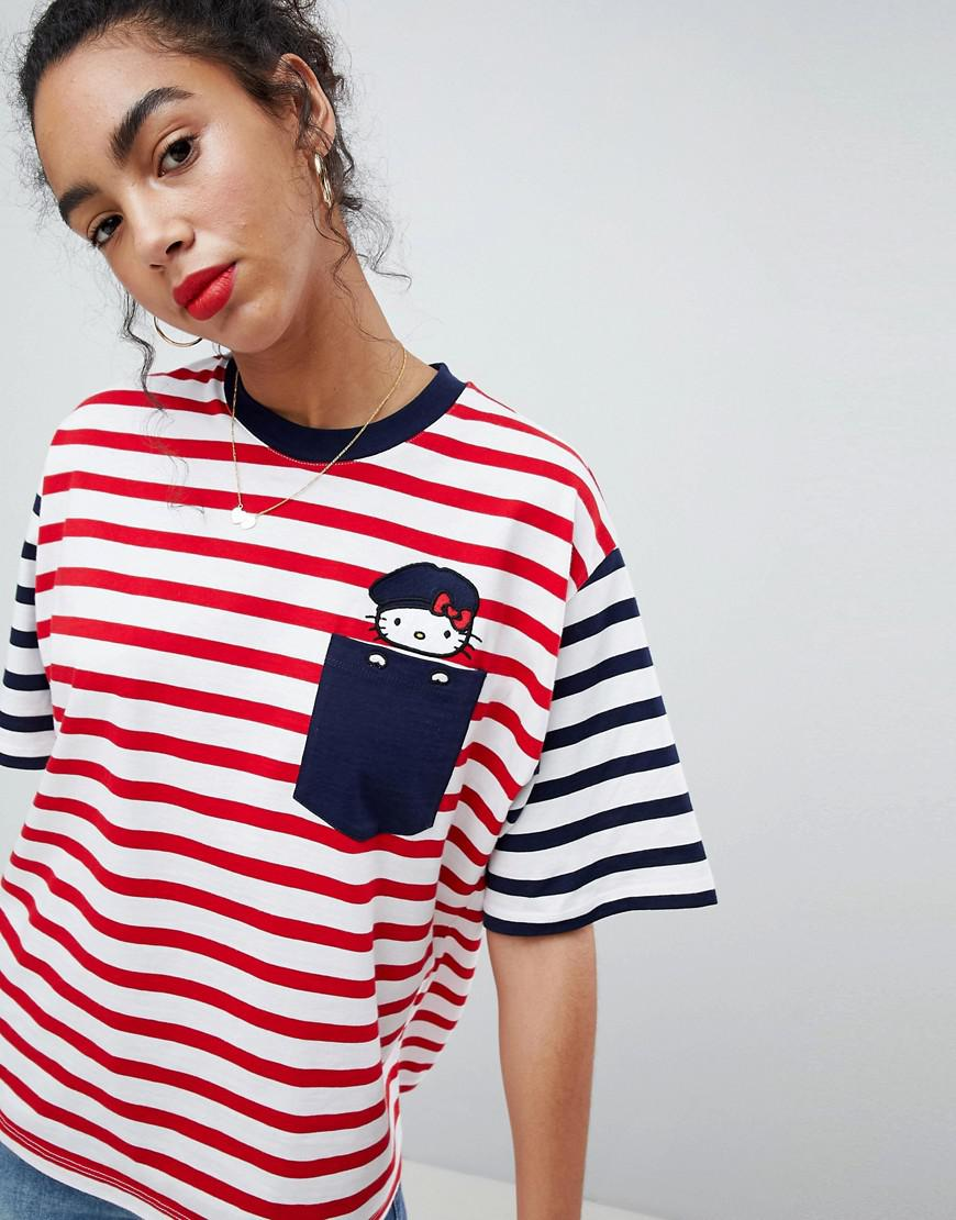 6ad3ed30676 Lyst - ASOS Hello Kitty X Oversized T-shirt With Peeping Embroidered ...