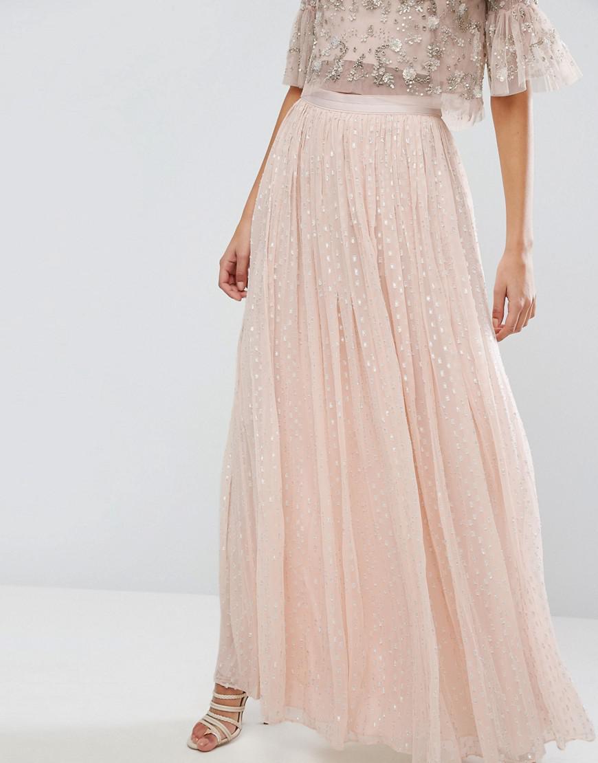 22a42cc3507 Lyst - Needle   Thread Metallic Chiffon Maxi Skirt in Pink