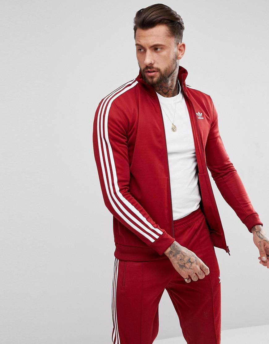 Adidas originali adicolor beckenbauer traccia giacca in borgogna