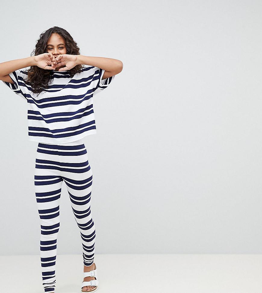 ASOS DESIGN Tall Wide Stripe Short Sleeve Tee And Legging Set - Multi Asos Tall Buy For Sale 8H5VKe