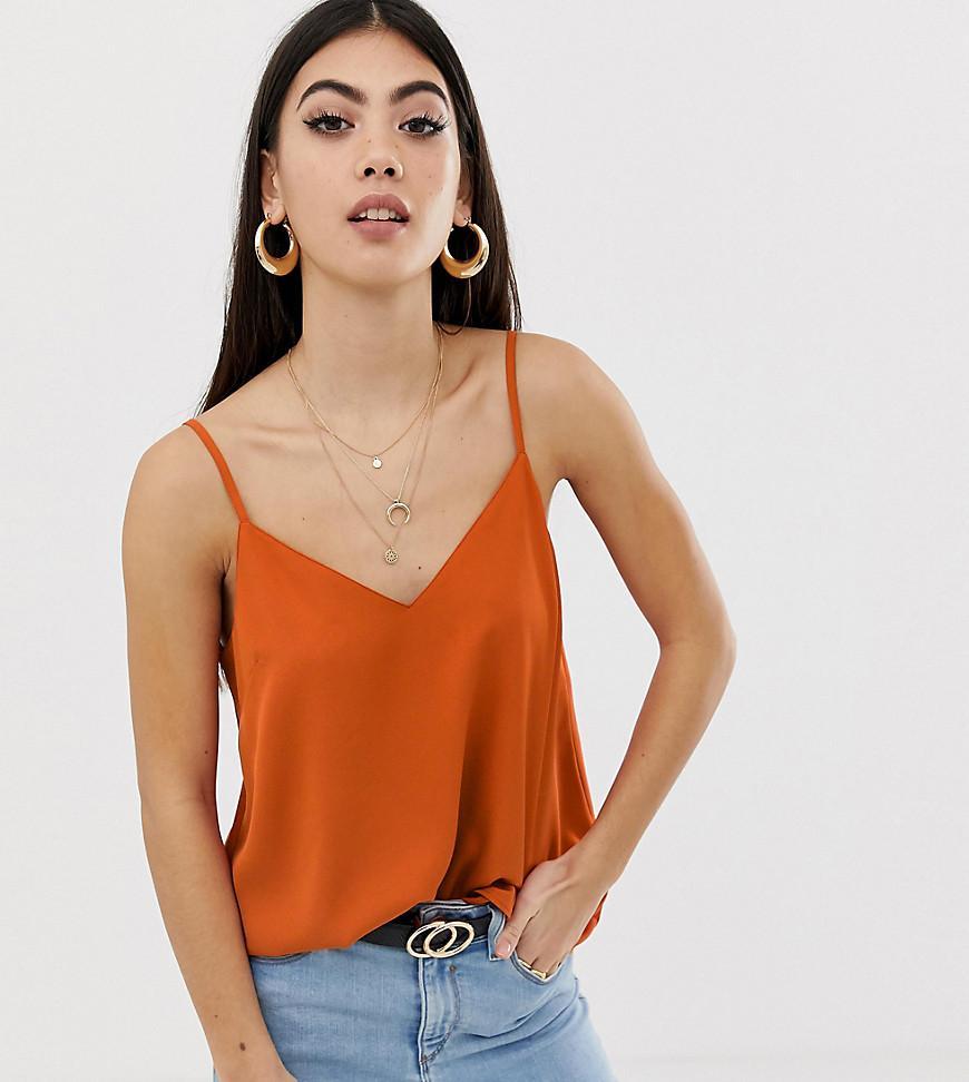 09cb7361 ASOS. Women's Orange Asos Design Petite Eco Swing Cami With Double Layer