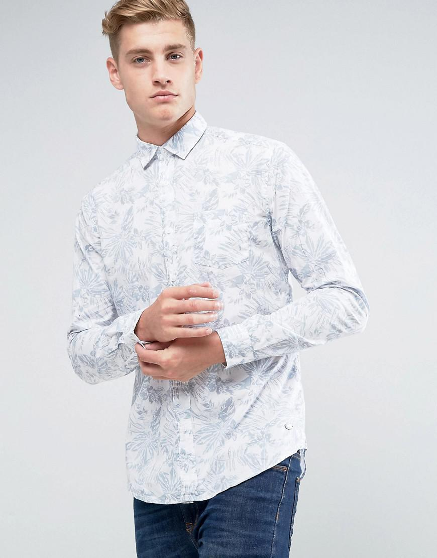 51d05ee58a5 Esprit Shirt In Slim Fit With All Over Leaf Print in White for Men ...
