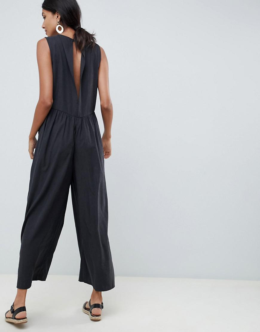 2afa39470c6 Lyst - ASOS Asos Design Tall Minimal Jumpsuit With Ruching Detail in Gray
