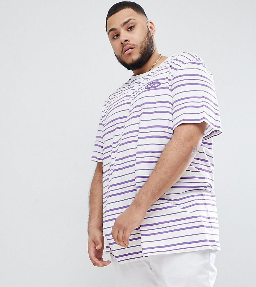 ea688e5b7 PUMA Plus Organic Cotton T-shirt In Retro Stripe In Purple Exclusive ...