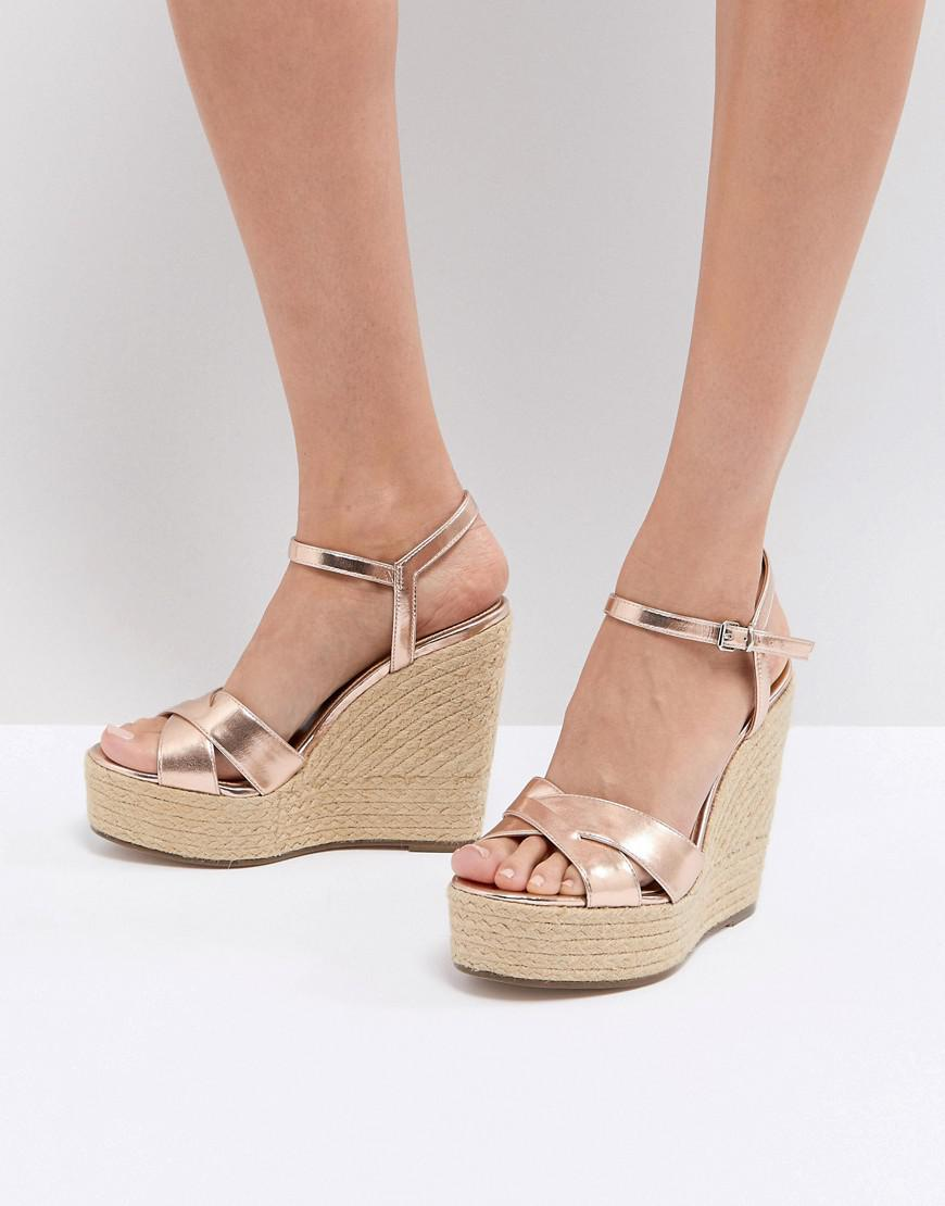 2c3e7a99191c Office Wonder Rose Gold Espadrille Wedges in Metallic - Lyst